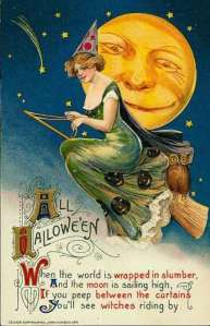 yellow moon witch wearing green on a tan broom